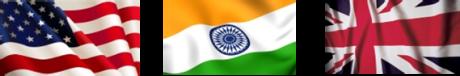 Intercultural talent management  Indian Flag US flag Union JAck