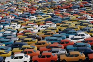 Cars pilled in Yokohama