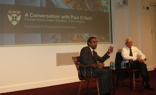 Paul O' Neill, former Secretary of the US Treasury and CEO of Alcoa, gives his views on effective leadership