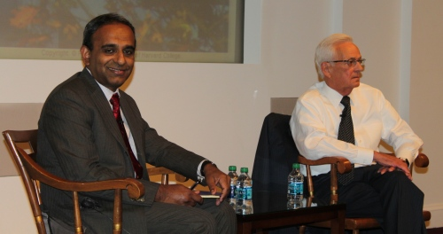 The discussion with Former Secretary O' Neill was chaired by Professor Ananth Raman